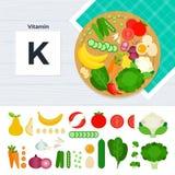 Prodotti con la vitamina K Fotografia Stock Libera da Diritti