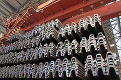 Prodotti d'acciaio dei materiali nella sezione trasversale Fotografie Stock Libere da Diritti