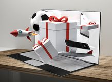 Prodotti da tavolino 3d-illustration dei regali del computer Fotografia Stock