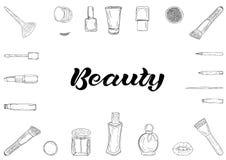 Prodotti dei cosmetici, insegna di trucco di modo illustrazione vettoriale