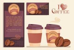 Prodotti del caffè o insieme di stile della società del bar Fotografia Stock Libera da Diritti