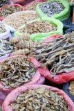 Prodotti del mare secchi da vendere al servizio, Nepal immagine stock libera da diritti