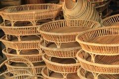 Prodotti del rattan da vendere Fotografia Stock Libera da Diritti