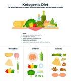 Prodotti della dieta ketogenic illustrazione di stock