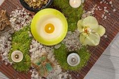 Prodotti della natura della stazione termale Sale marino, camomilla, sapone ed olio aromatico Fotografia Stock Libera da Diritti