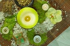 Prodotti della natura della stazione termale Sale marino, camomilla, sapone ed olio aromatico Fotografia Stock