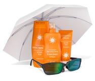 Prodotti della protezione solare con gli occhiali da sole sotto l'ombrello di sole 3d rendono illustrazione vettoriale