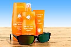 Prodotti della protezione solare con gli occhiali da sole sulla tavola di legno rende 3D fotografie stock