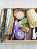 Prodotti della stazione termale con gli asciugamani, la luffa, il sale da bagno ed i saponi Fotografie Stock Libere da Diritti