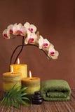 Prodotti della stazione termale con le candele verdi Fotografia Stock