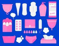 Prodotti di igiene della donna - tampone, tazza mestruale, sanitaria, pillole Insieme piano dell'illustrazione di vettore grande illustrazione vettoriale