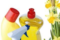 Prodotti di pulizie di primavera fotografie stock libere da diritti