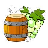 Prodotti di vinificazione nello stile di schizzo Illustrazione di vettore con il barilotto di vino, vetro, uva, ramoscello dell'u royalty illustrazione gratis