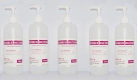 Prodotti disinfettanti della mano Fotografia Stock