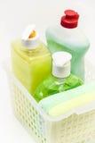 Prodotti e detersivi di pulizia Immagine Stock