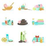 Prodotti e trattamenti di bellezza orientali del centro della stazione termale di Skincare Fotografia Stock Libera da Diritti