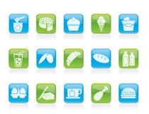 Prodotti lattier-caseario - icone della bevanda e dell'alimento Fotografia Stock