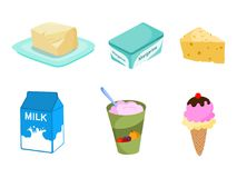 Prodotti lattier-caseario Illustrazione di vettore dei prodotti lattier-caseario Fotografie Stock
