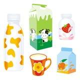 Prodotti lattier-caseario isolati Fotografia Stock