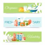 Prodotti lattier-caseario o illustrazione di vettore dell'insieme del latte Fresco, qualità, insieme dell'alimento biologico dell illustrazione di stock
