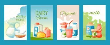 Prodotti lattier-caseario o illustrazione di vettore dell'insieme del latte Fresco, qualità, carte dell'alimento biologico o inse illustrazione vettoriale