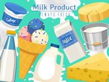 Prodotti lattier-caseario o illustrazione di vettore dell'insieme del latte Fresco, qualità, insegna dell'alimento biologico, man illustrazione vettoriale