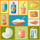 Prodotti lattier-caseario o illustrazione di vettore dell'insieme del latte Fresco, qualità, modello senza cuciture dell'alimento illustrazione vettoriale