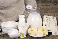 Prodotti lattier-caseario rurali Fotografia Stock Libera da Diritti