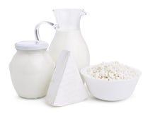 Prodotti lattier-caseario su bianco Fotografia Stock