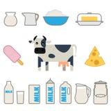 Prodotti lattiero-caseari piani di stile messi Fotografia Stock Libera da Diritti