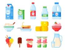 Prodotti lattiero-caseari Yogurt di dieta sana, gelato e formaggio del latte Raccolta piana isolata fresca delle icone di vettore royalty illustrazione gratis