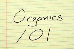 Prodotti organici 101 su un blocco note giallo Immagini Stock Libere da Diritti