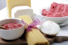Prodotti per gli spaghetti Bolognese Fotografia Stock Libera da Diritti