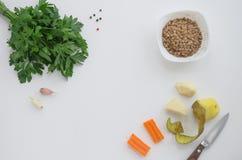 Prodotti per la minestra delle lenticchie Fotografia Stock Libera da Diritti
