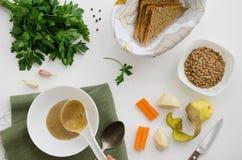 Prodotti per la minestra delle lenticchie Fotografie Stock