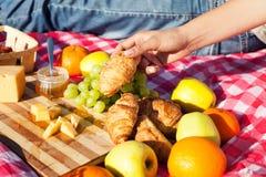 Prodotti sulla coperta per il picnic Fotografia Stock