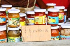 Prodotti verdi e rossi del peperoncino, Rodrigues Island Immagine Stock
