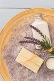 Prodotto aromatherapy dell'estetica della lavanda della Provenza Fotografie Stock