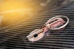 Prodotto automobilistico della parte fare dal composto della fibra del carbonio fotografia stock