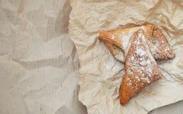 Prodotto bollente dolce sulla carta del mestiere Foto dell'alimento Pasticcerie dolci Insegna del negozio del forno immagine stock libera da diritti