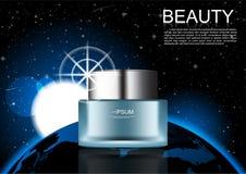 Prodotto cosmetico sul fondo dello spazio cosmico alcuni elementi di questo illustrazione di stock