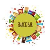 Prodotto dello spuntino con il cerchio Spuntini degli alimenti a rapida preparazione, bevande, dadi, chip, cracker, succo, panino royalty illustrazione gratis