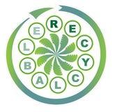Prodotto riciclabile - un'etichetta circolare illustrazione di stock