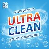 Prodotto ultra pulito di progettazione del sapone Modello per il detersivo di lavanderia con le bolle sul blu Progettazione di pa royalty illustrazione gratis