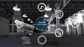 Prodotto a utilizzare il braccio del robot nella fabbrica astuta Icona astuta circondata del grafico di informazioni della fabbri