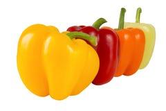 Prodotto-verdure fresche di vegetables Peperoni rossi, gialli, verdi, arancio dolci isolati su fondo bianco Fotografie Stock Libere da Diritti