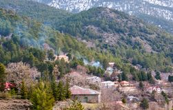 Prodromos山村, Troodos塞浦路斯 图库摄影