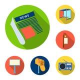 Produção de anunciar ícones lisos na coleção do grupo para o projeto Web do estoque do símbolo do vetor do equipamento da propaga ilustração do vetor