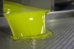 Produção de azeite virgem fresca em uma fábrica da frio-imprensa após a colheita verde-oliva imagens de stock royalty free