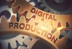 Produção de Digitas nas engrenagens douradas ilustração 3D Fotografia de Stock